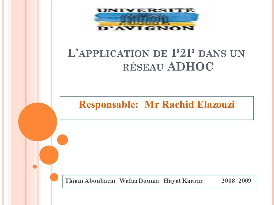 L'application de P2P dans un réseau ADHOC