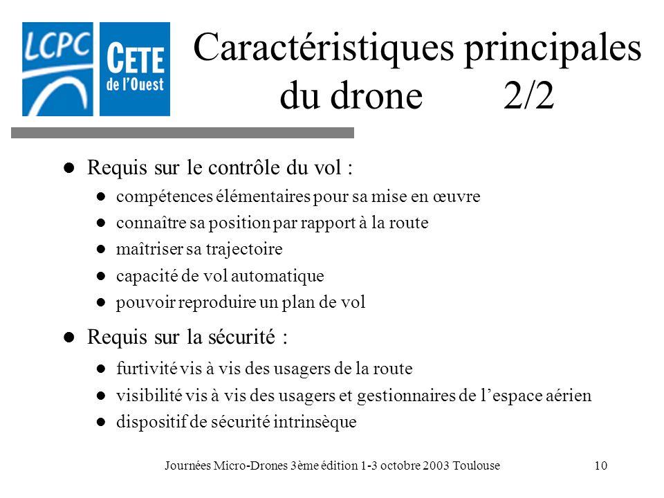 Caractéristiques principales du drone 2/2