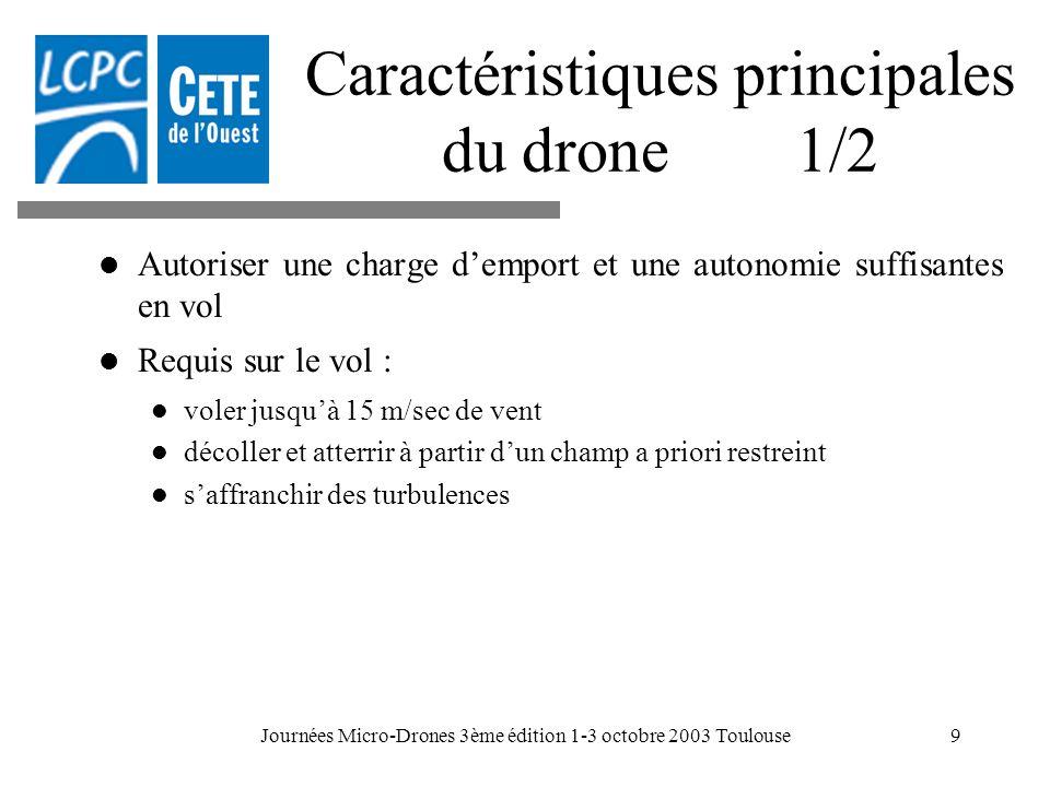 Caractéristiques principales du drone 1/2