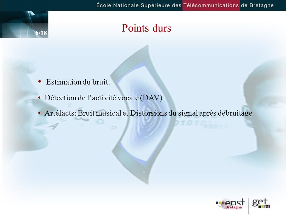 Points durs Estimation du bruit. Détection de l'activité vocale (DAV).