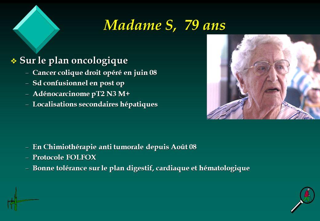 Madame S, 79 ans Sur le plan oncologique