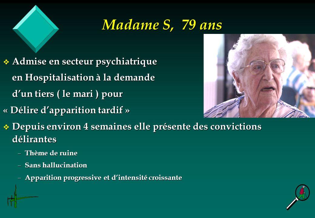 Madame S, 79 ans Admise en secteur psychiatrique