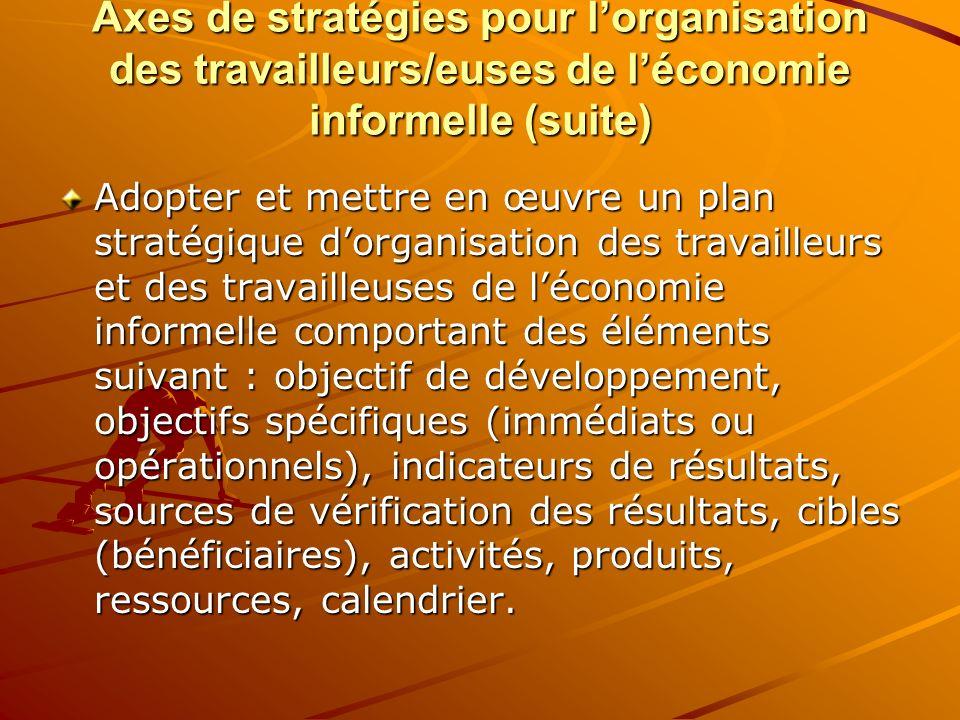 Axes de stratégies pour l'organisation des travailleurs/euses de l'économie informelle (suite)