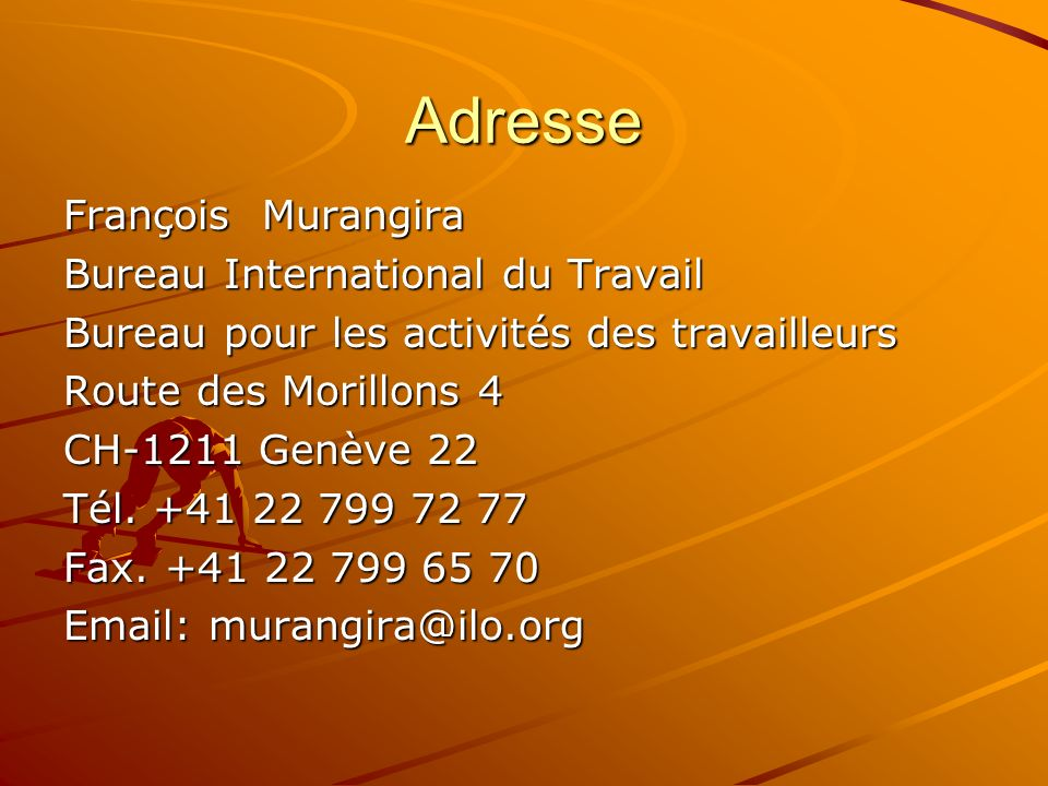 Adresse François Murangira Bureau International du Travail