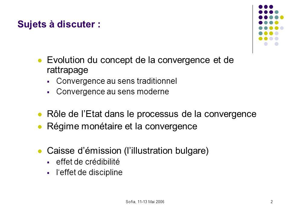 Sujets à discuter : Evolution du concept de la convergence et de rattrapage. Convergence au sens traditionnel.