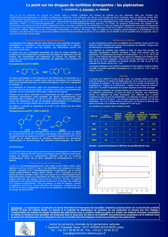 Le point sur les drogues de synthèse émergentes : les pipérazines Y