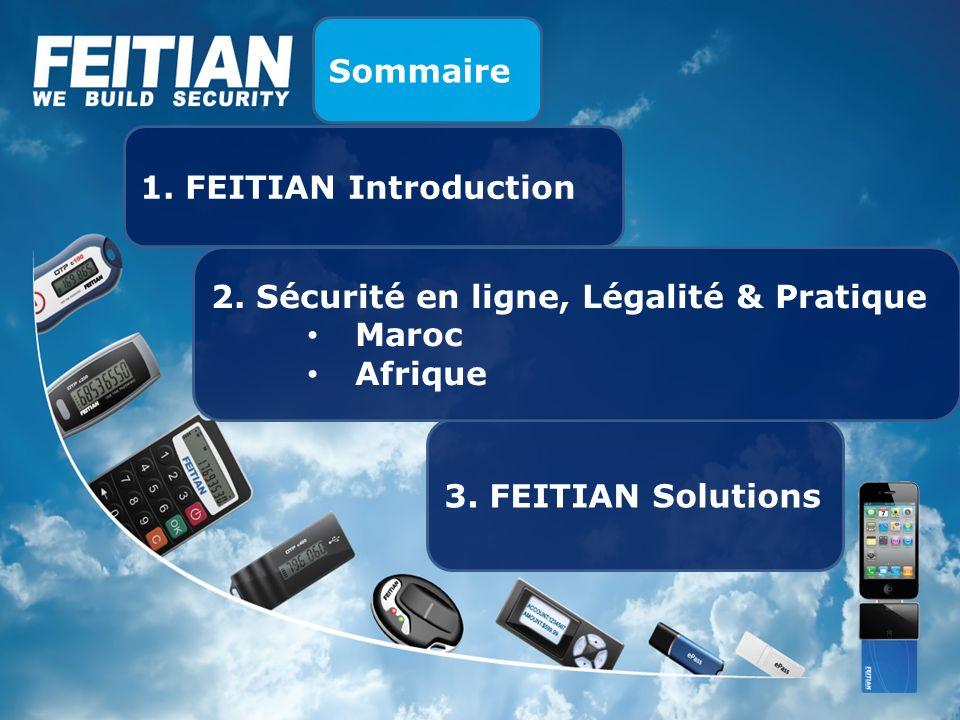 Sommaire 1. FEITIAN Introduction. 2. Sécurité en ligne, Légalité & Pratique.