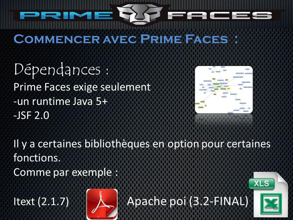 Dépendances : Commencer avec Prime Faces : Prime Faces exige seulement