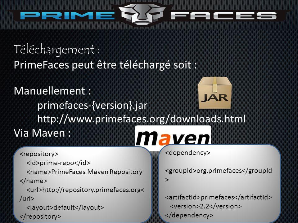 PrimeFaces peut être téléchargé soit : Manuellement :