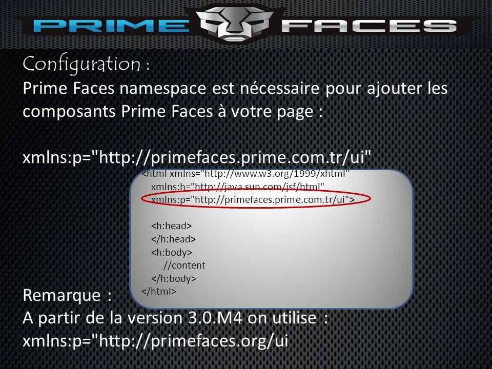 Configuration : Prime Faces namespace est nécessaire pour ajouter les composants Prime Faces à votre page :
