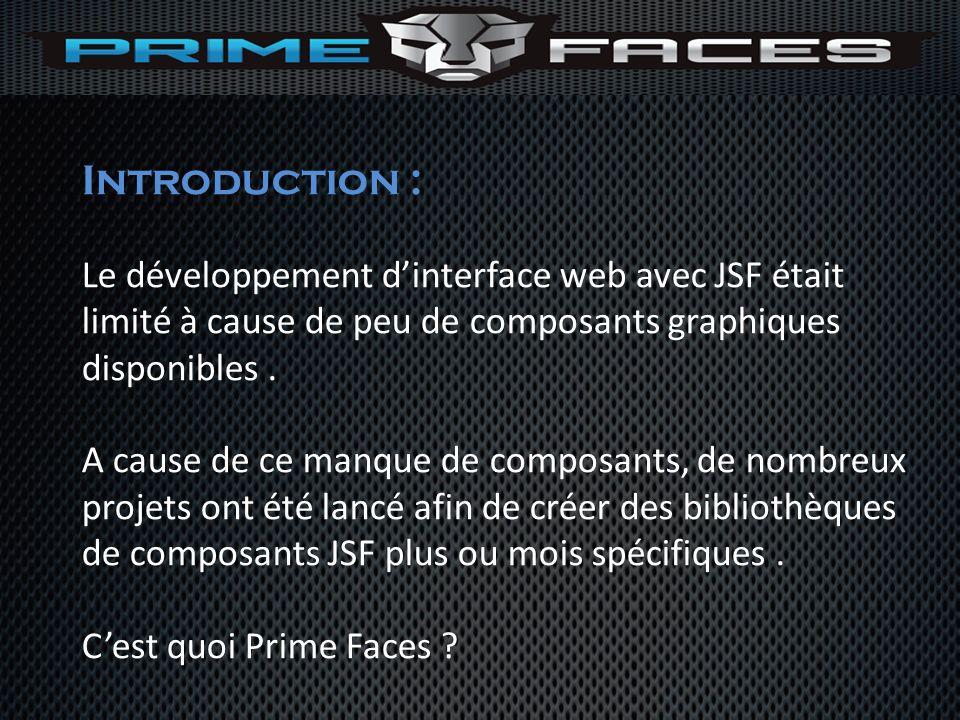 Introduction : Le développement d'interface web avec JSF était limité à cause de peu de composants graphiques disponibles .