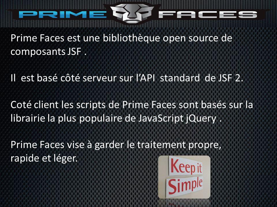 Prime Faces est une bibliothèque open source de composants JSF .