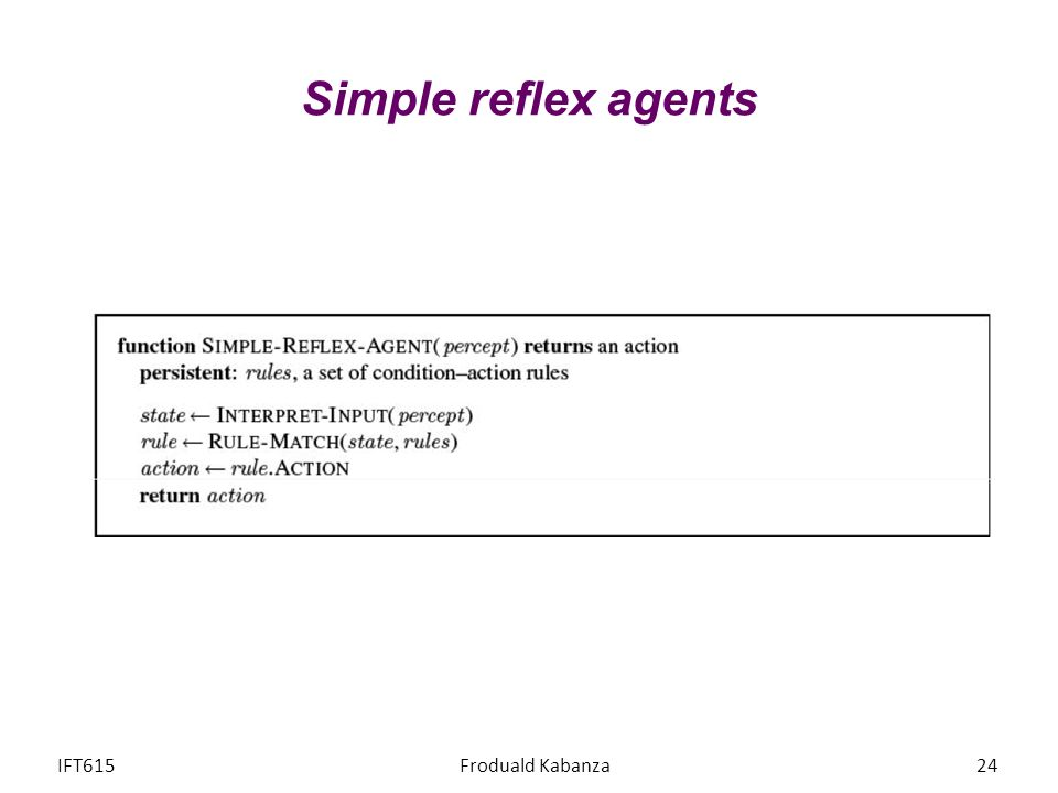 Simple reflex agents IFT615 Froduald Kabanza
