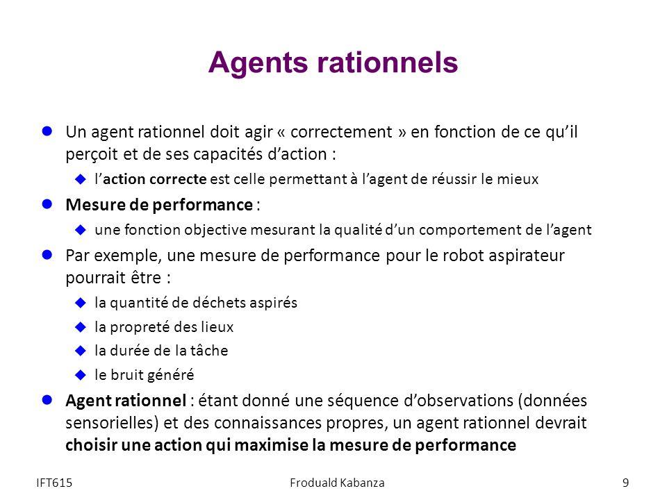 Agents rationnels Un agent rationnel doit agir « correctement » en fonction de ce qu'il perçoit et de ses capacités d'action :