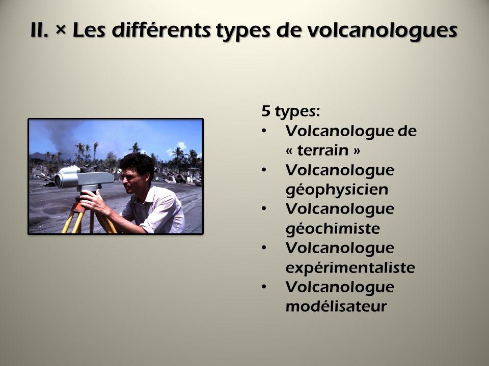 II. × Les différents types de volcanologues