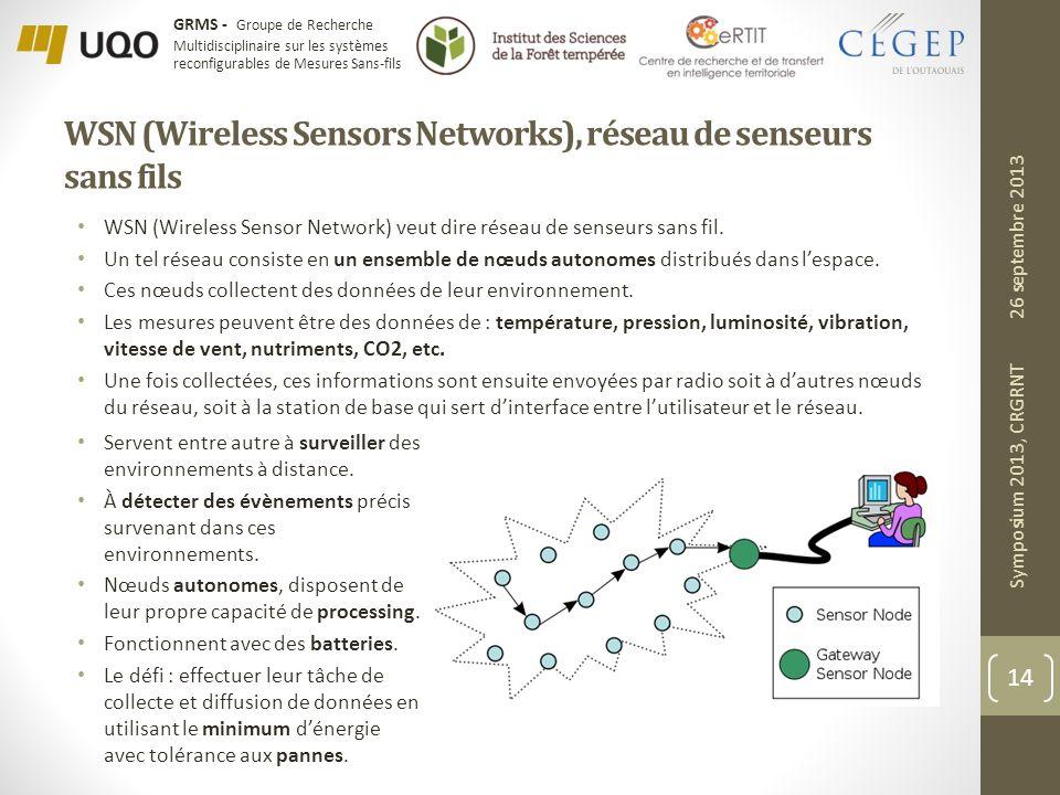 WSN (Wireless Sensors Networks), réseau de senseurs sans fils