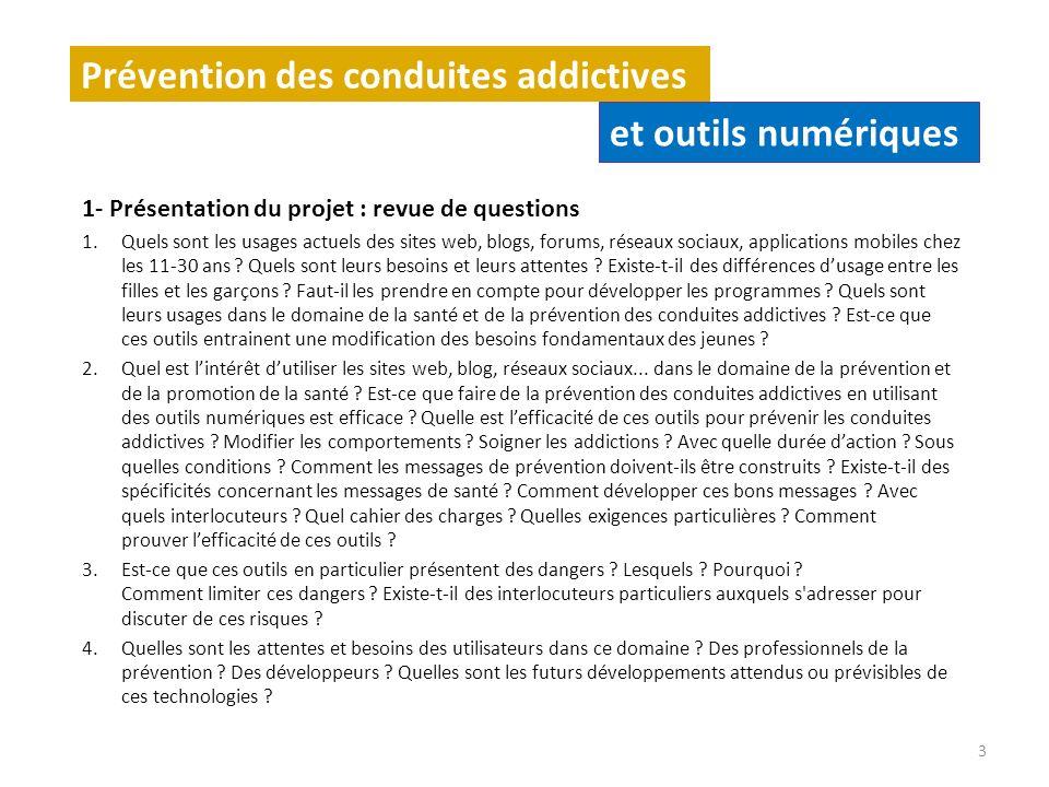 Prévention des conduites addictives et outils numériques