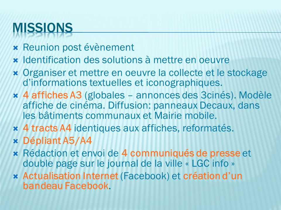Missions Reunion post évènement