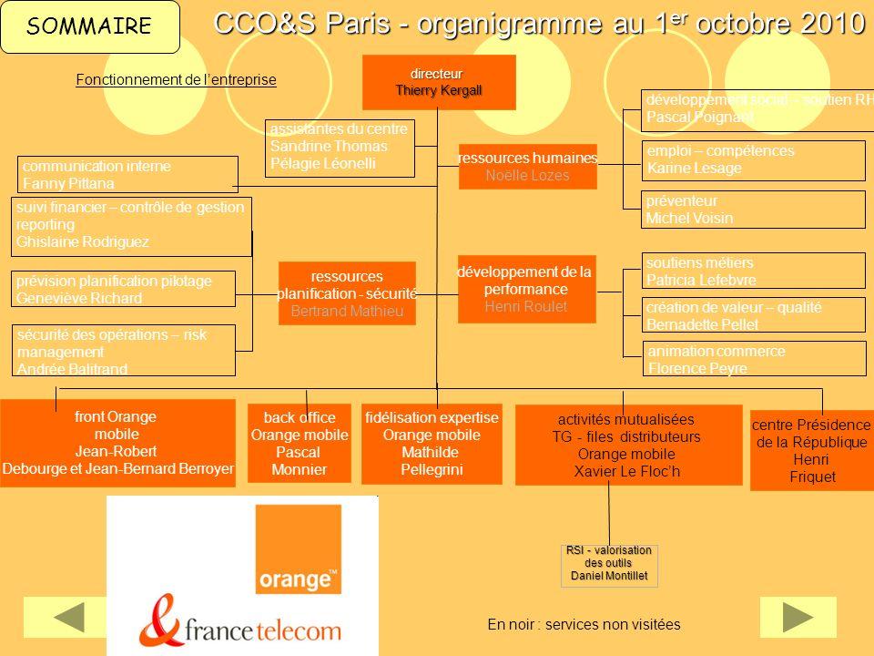 CCO&S Paris - organigramme au 1er octobre 2010