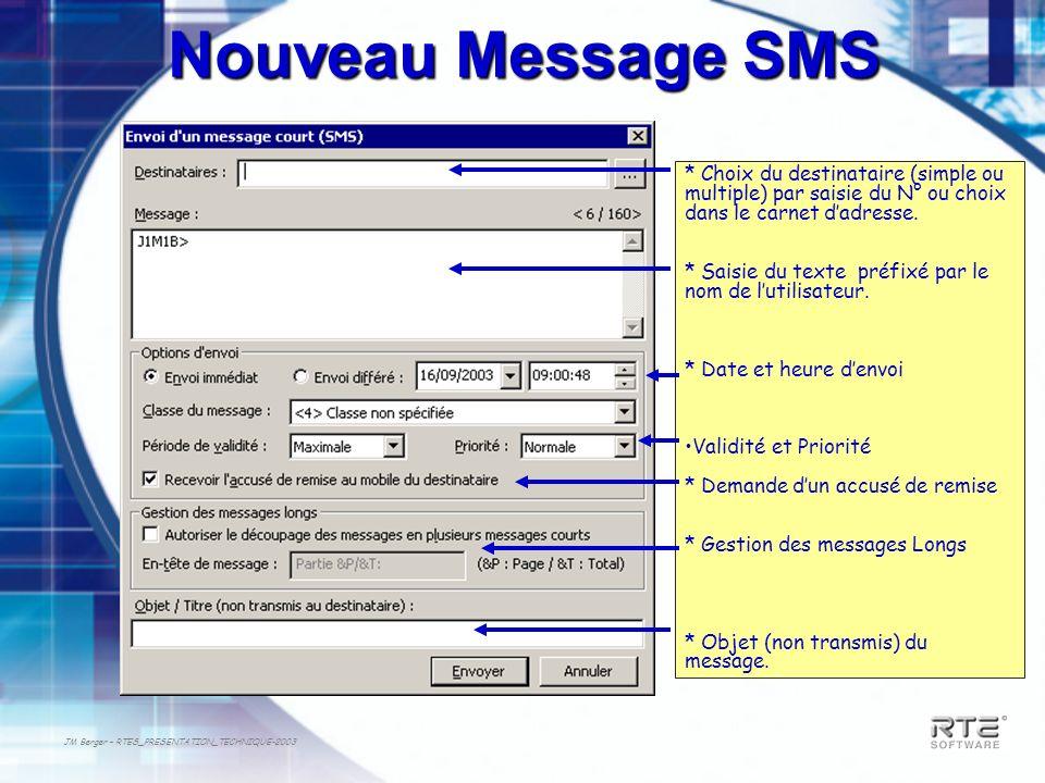 Nouveau Message SMS * Choix du destinataire (simple ou multiple) par saisie du N° ou choix dans le carnet d'adresse.