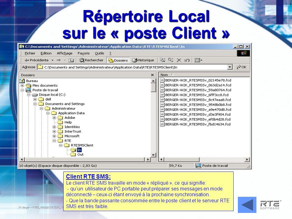 Répertoire Local sur le « poste Client »