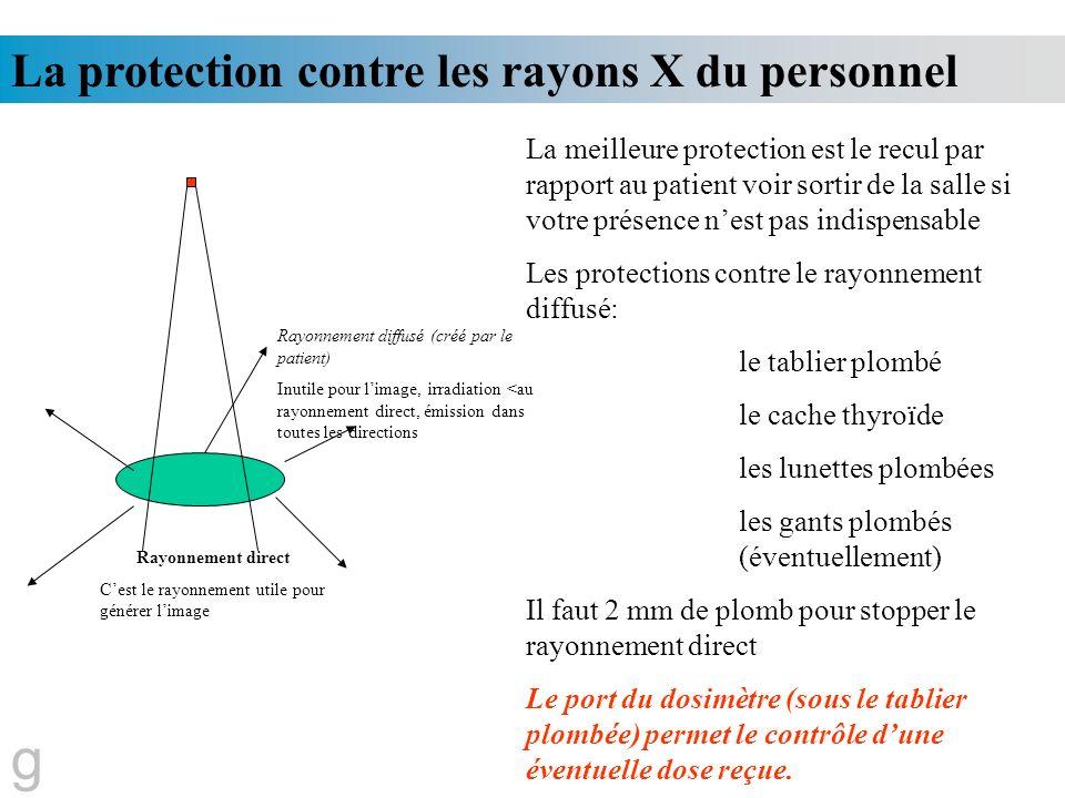 g La protection contre les rayons X du personnel