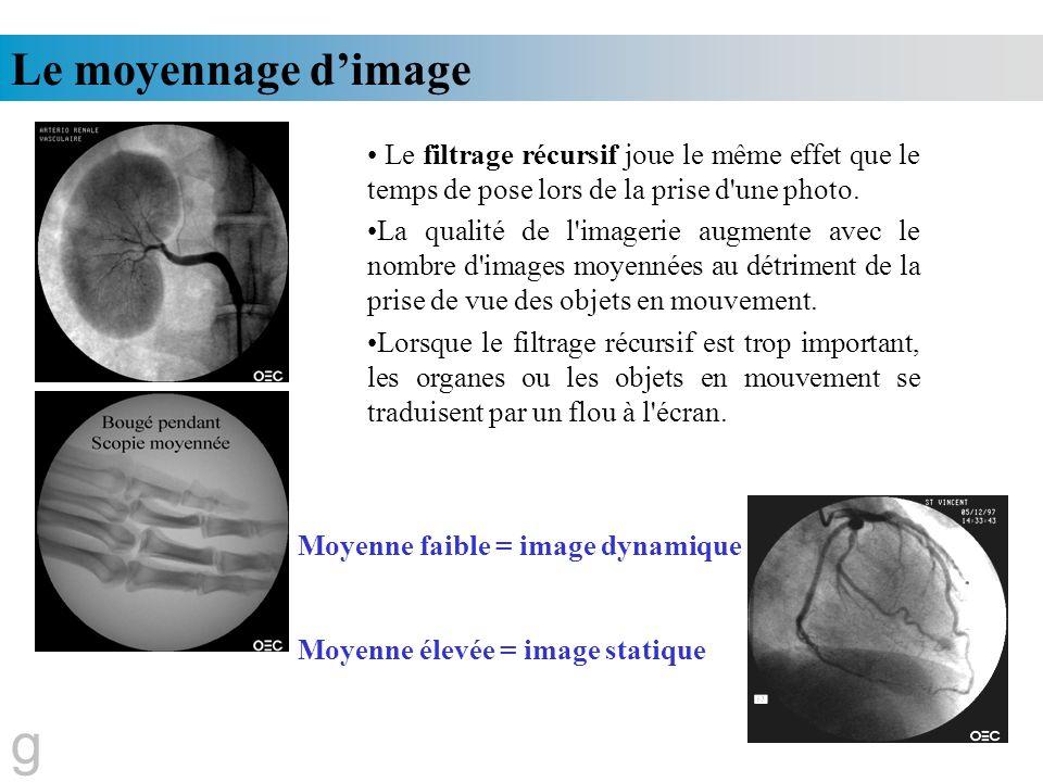 Le moyennage d'image Le filtrage récursif joue le même effet que le temps de pose lors de la prise d une photo.