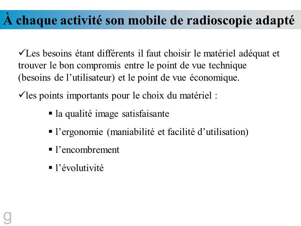 g À chaque activité son mobile de radioscopie adapté