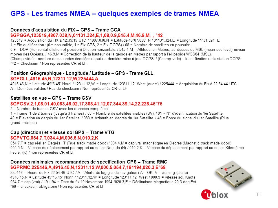 GPS - Les trames NMEA – quelques exemples de trames NMEA