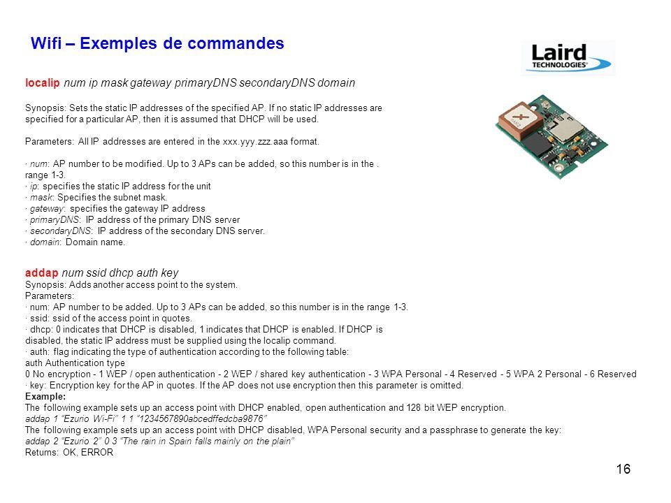 Wifi – Exemples de commandes