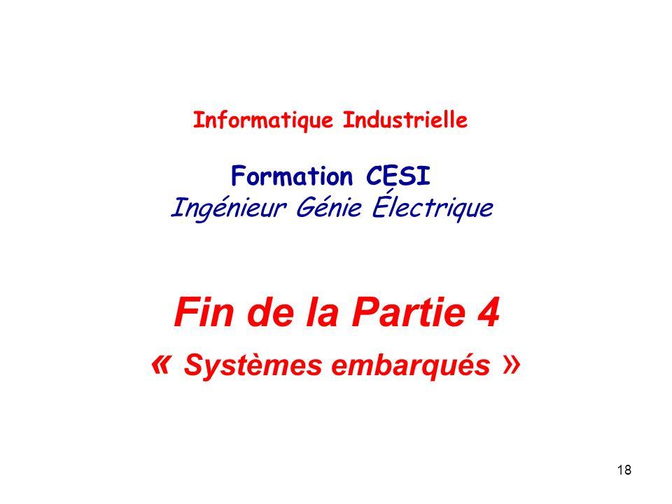 Fin de la Partie 4 « Systèmes embarqués »