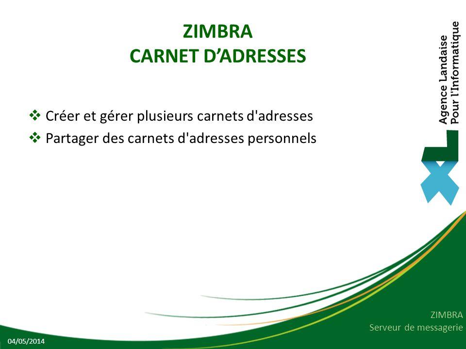 ZIMBRA CARNET D'ADRESSES
