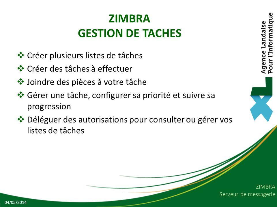 ZIMBRA GESTION DE TACHES