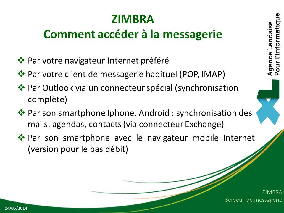 ZIMBRA Comment accéder à la messagerie