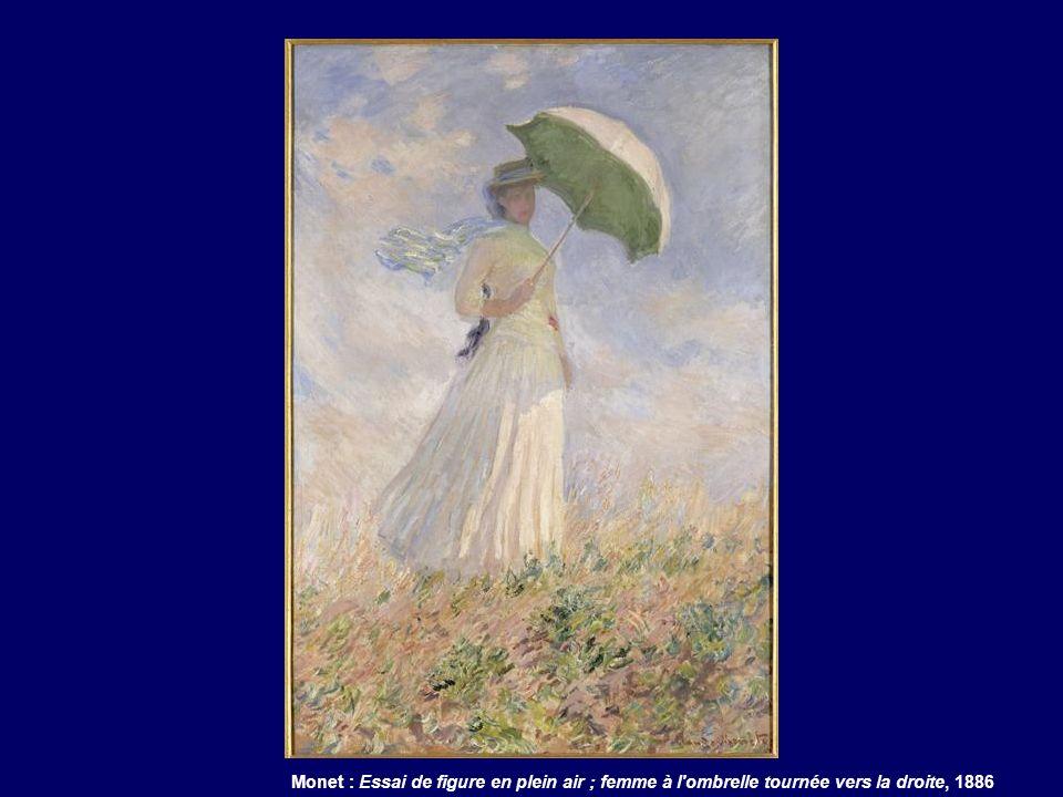 Monet : Essai de figure en plein air ; femme à l ombrelle tournée vers la droite, 1886