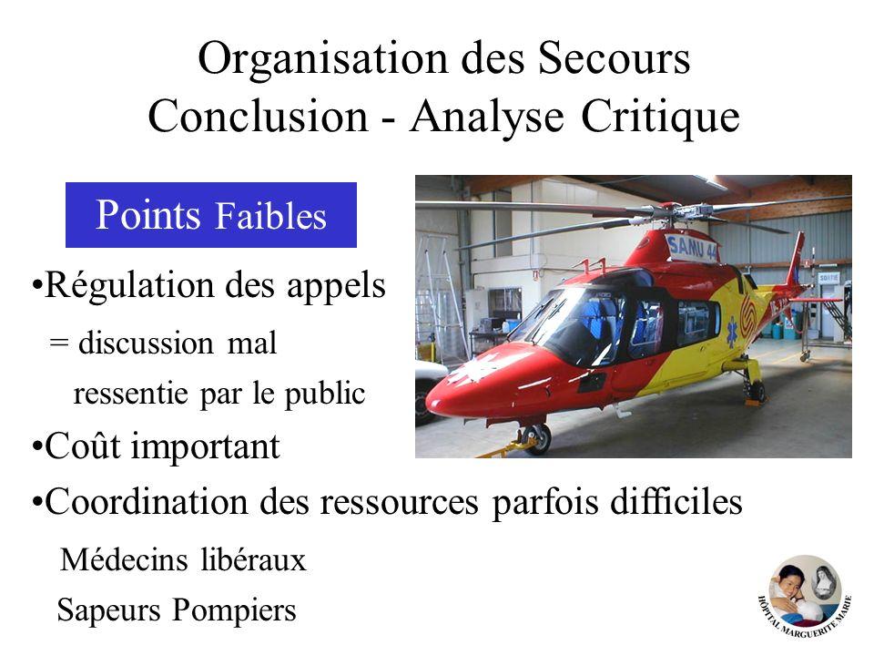 Organisation des Secours Conclusion - Analyse Critique