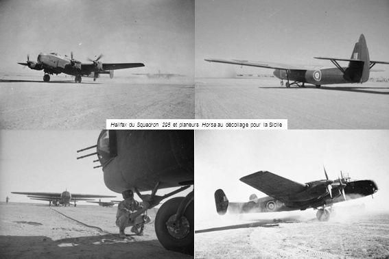 Halifax du Squadron 295 et planeurs Horsa au décollage pour la Sicile