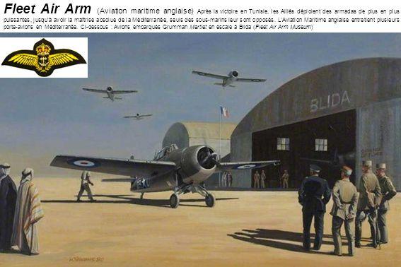 Fleet Air Arm (Aviation maritime anglaise) Après la victoire en Tunisie, les Alliés déploient des armadas de plus en plus puissantes, jusqu'à avoir la maîtrise absolue de la Méditerranée, seuls des sous-marins leur sont opposés.
