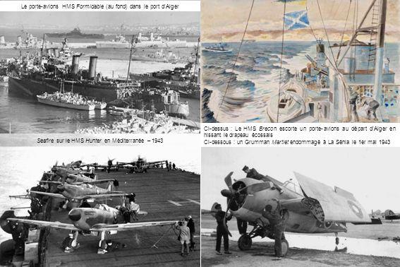 Le porte-avions HMS Formidable (au fond) dans le port d'Alger