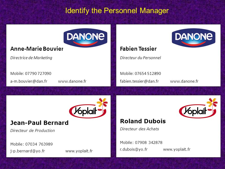 Identify the Personnel Manager