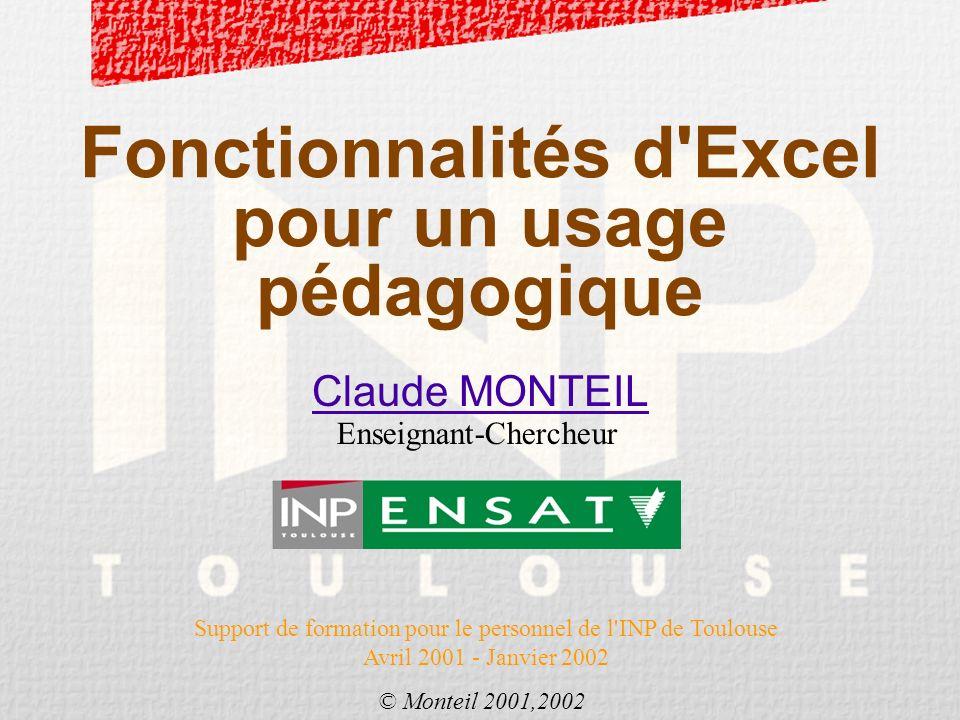Fonctionnalités d Excel pour un usage pédagogique