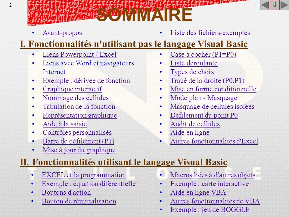 SOMMAIRE I. Fonctionnalités n utilisant pas le langage Visual Basic