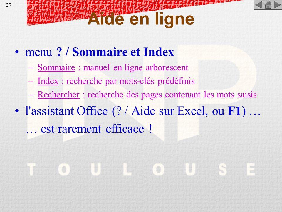 Aide en ligne menu / Sommaire et Index