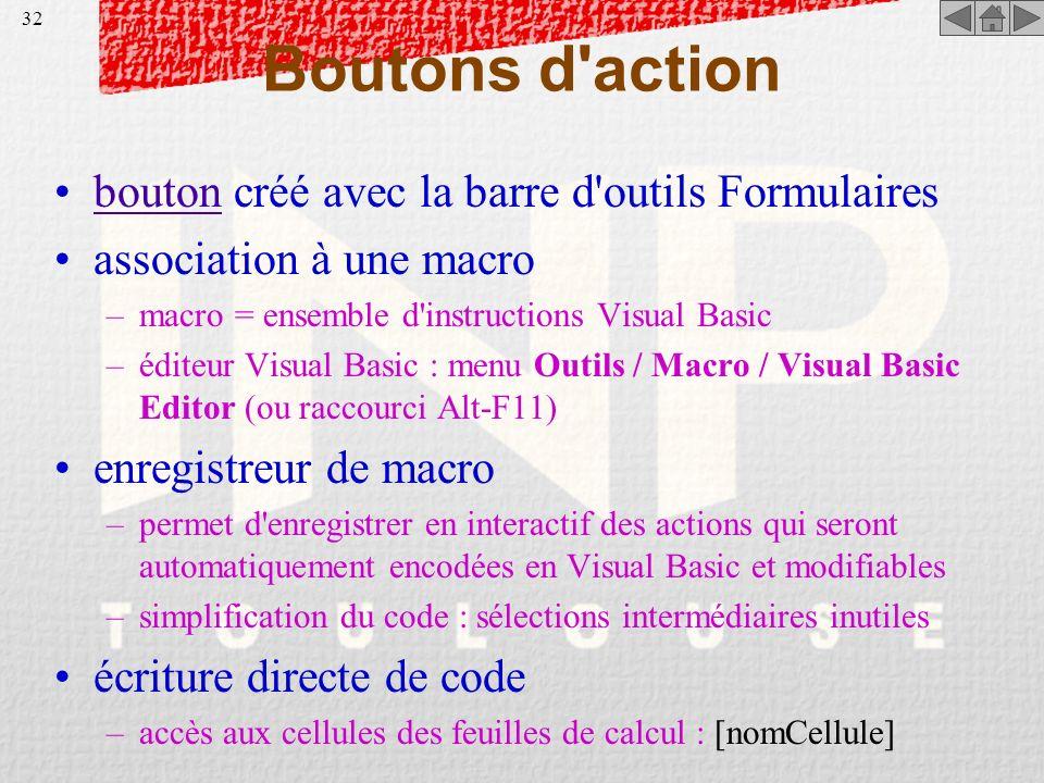 Boutons d action bouton créé avec la barre d outils Formulaires