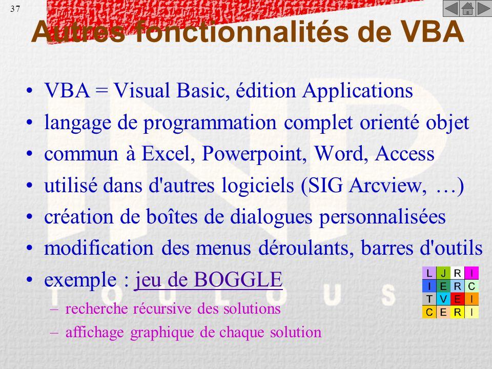 Autres fonctionnalités de VBA