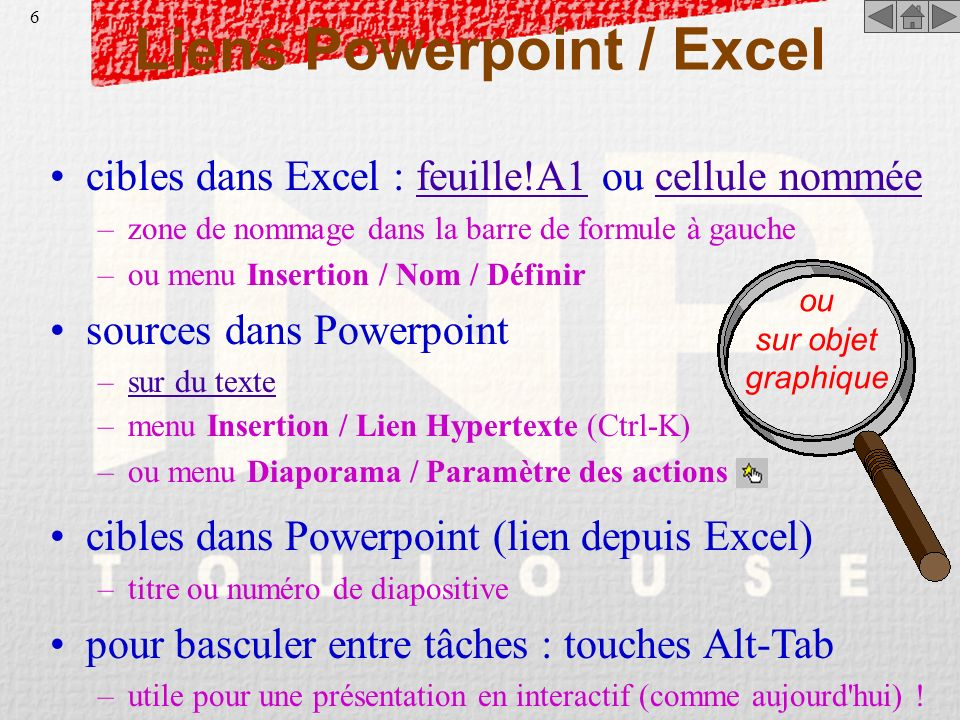 Liens Powerpoint / Excel