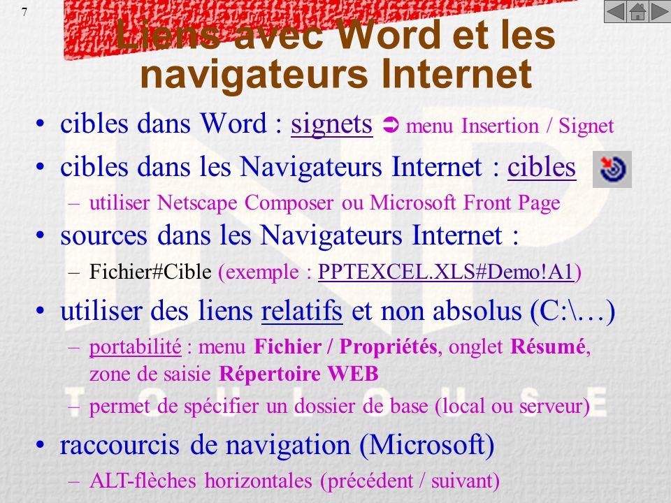 Liens avec Word et les navigateurs Internet