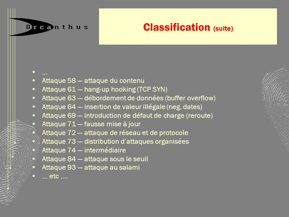 Classification (suite)