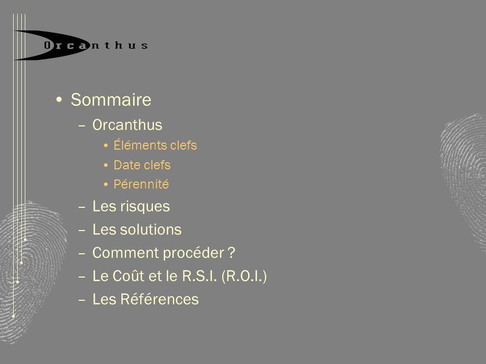 Sommaire Orcanthus Les risques Les solutions Comment procéder