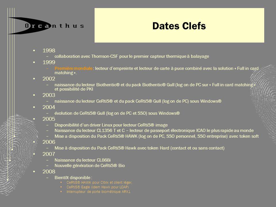Dates Clefs 1998. collaboration avec Thomson-CSF pour le premier capteur thermique à balayage. 1999.